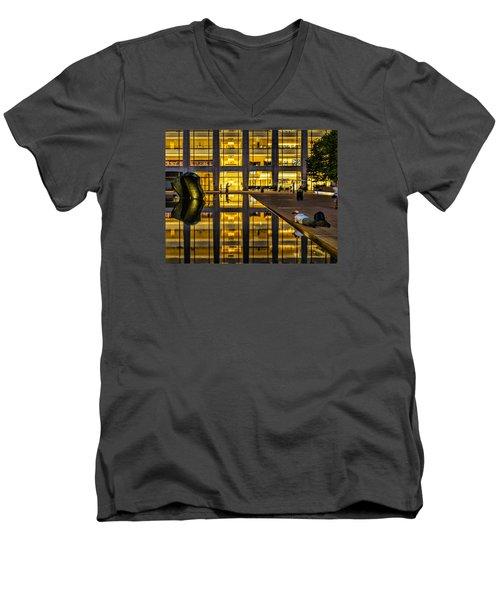 Golden Grid Men's V-Neck T-Shirt