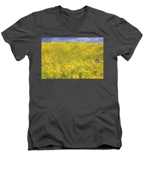 Men's V-Neck T-Shirt featuring the photograph Golden Hillside by Marc Crumpler