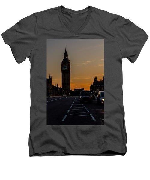 Golden Hour Big Ben In London Men's V-Neck T-Shirt