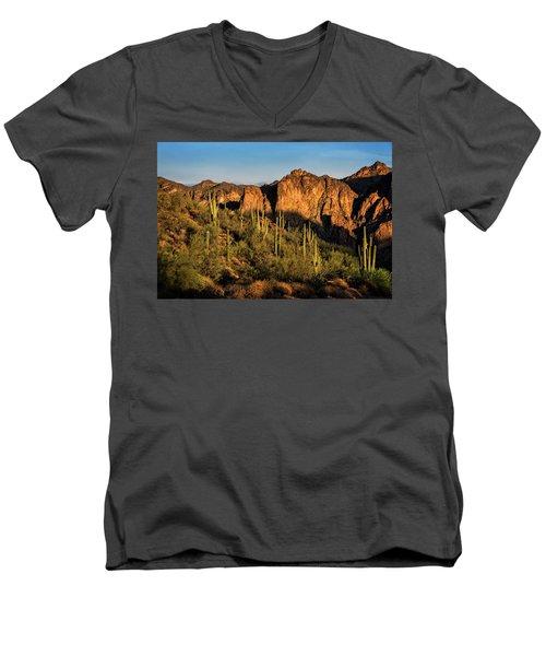 Men's V-Neck T-Shirt featuring the photograph Golden Hour On Saguaro Hill  by Saija Lehtonen