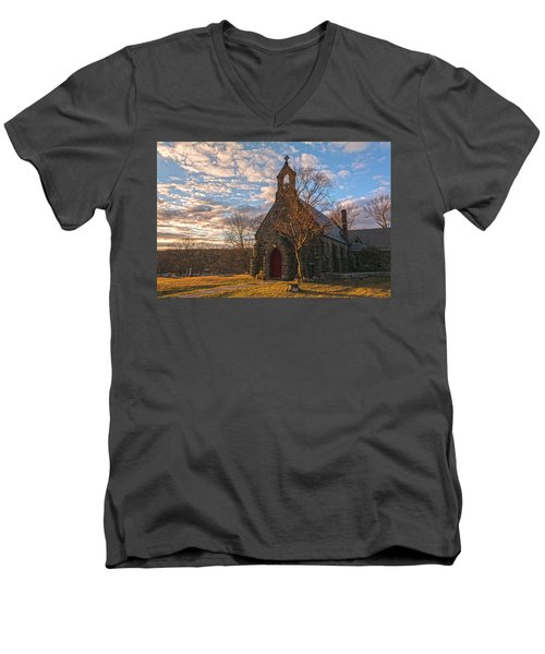 Golden Hour Prayer Service Men's V-Neck T-Shirt by Angelo Marcialis