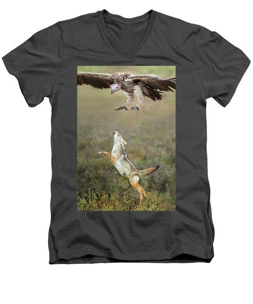 Golden Jackal, Canis Aureus, Leaping At Vulture Men's V-Neck T-Shirt