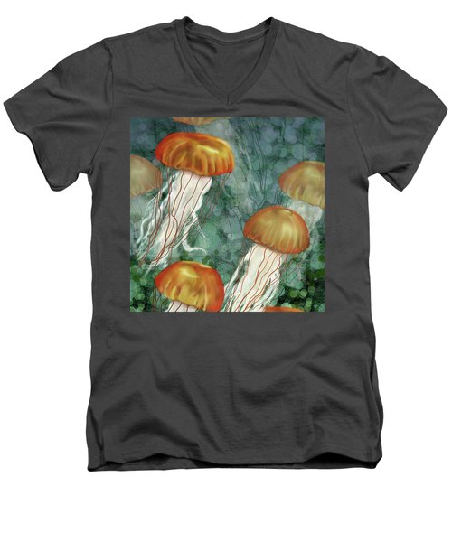 Golden Jellyfish In Green Sea Men's V-Neck T-Shirt