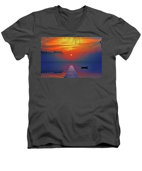 Men's V-Neck T-Shirt featuring the painting Golden Lake by Harry Warrick