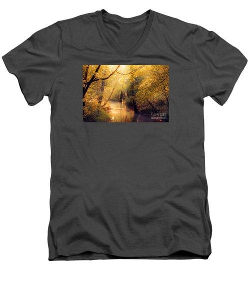 Men's V-Neck T-Shirt featuring the photograph Golden Light by Geraldine DeBoer