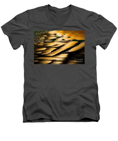 Golden Light On The Wet Sand, Point Reyes National Seashore Mar Men's V-Neck T-Shirt by Wernher Krutein