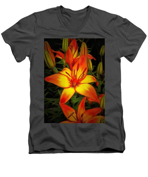 Golden Lilies Men's V-Neck T-Shirt