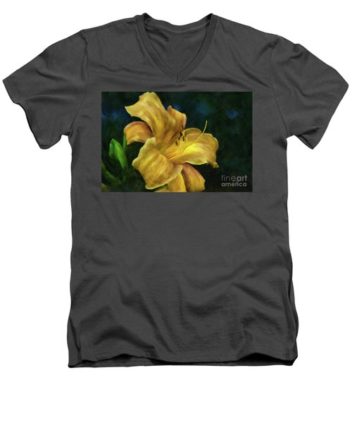 Men's V-Neck T-Shirt featuring the digital art Golden Lily by Lois Bryan
