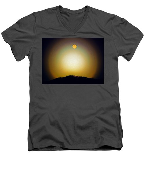 Men's V-Neck T-Shirt featuring the photograph Golden Moon by Joseph Frank Baraba