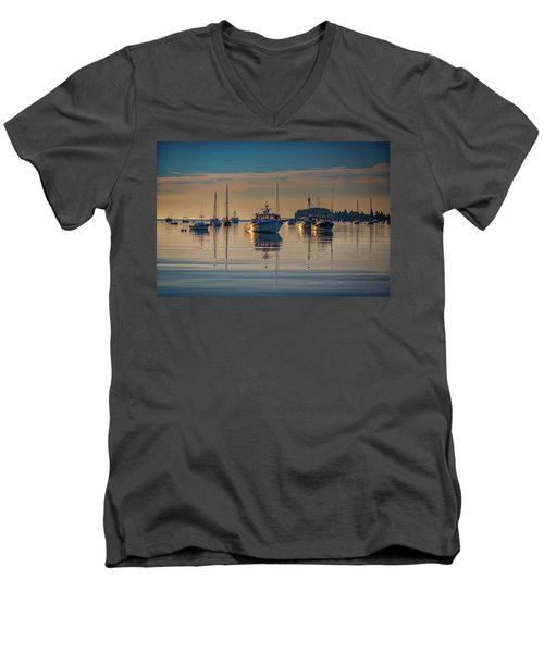 Men's V-Neck T-Shirt featuring the photograph Golden Morning In Tenants Harbor by Rick Berk