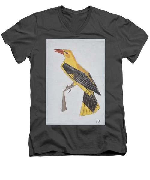 Golden Oriole Men's V-Neck T-Shirt by Tamara Savchenko
