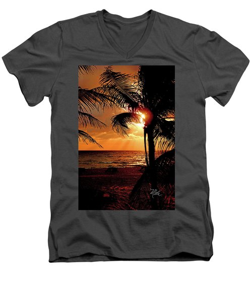Golden Palm Sunrise Men's V-Neck T-Shirt