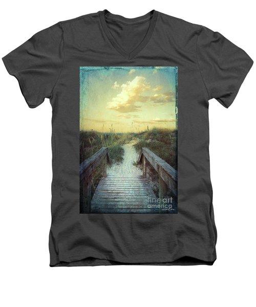 Golden Pathway Men's V-Neck T-Shirt by Linda Olsen