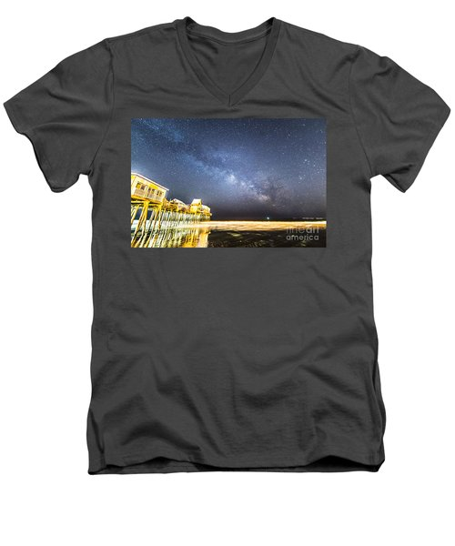 Golden Pier Under The Milky Way Version 1.0 Men's V-Neck T-Shirt