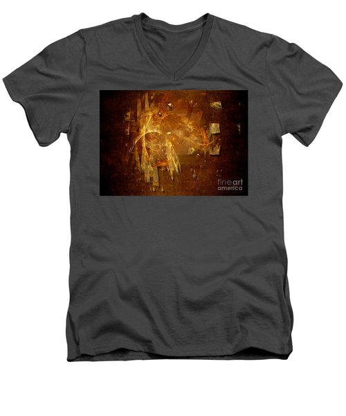 Men's V-Neck T-Shirt featuring the digital art Golden Rain by Alexa Szlavics