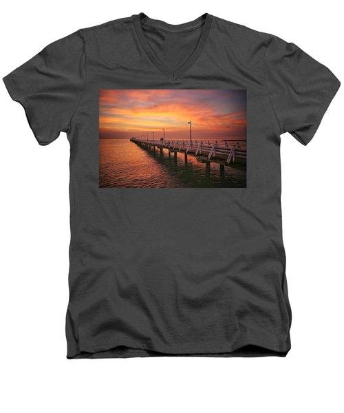 Golden Red Skies Over The Pier Men's V-Neck T-Shirt