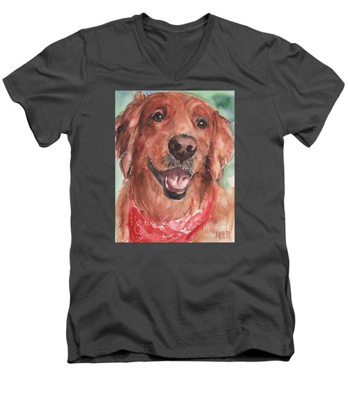 Golden Retriever Dog In Watercolori Men's V-Neck T-Shirt by Maria's Watercolor