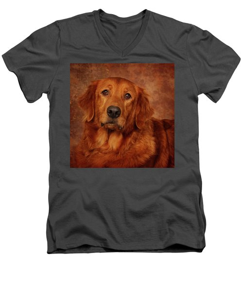 Golden Retriever Men's V-Neck T-Shirt by Greg Mimbs