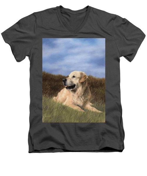 Golden Retriever Painting Men's V-Neck T-Shirt