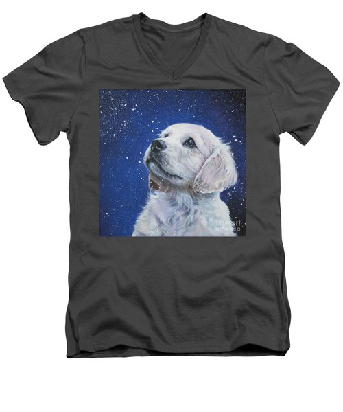 Golden Retriever Pup In Snow Men's V-Neck T-Shirt