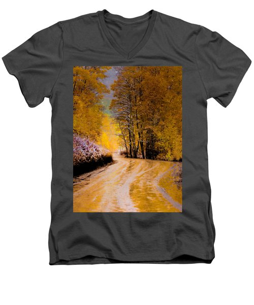 Golden Road Men's V-Neck T-Shirt by Kristal Kraft
