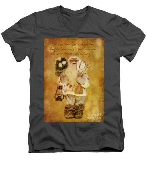 Golden Santa Card 2015 Men's V-Neck T-Shirt