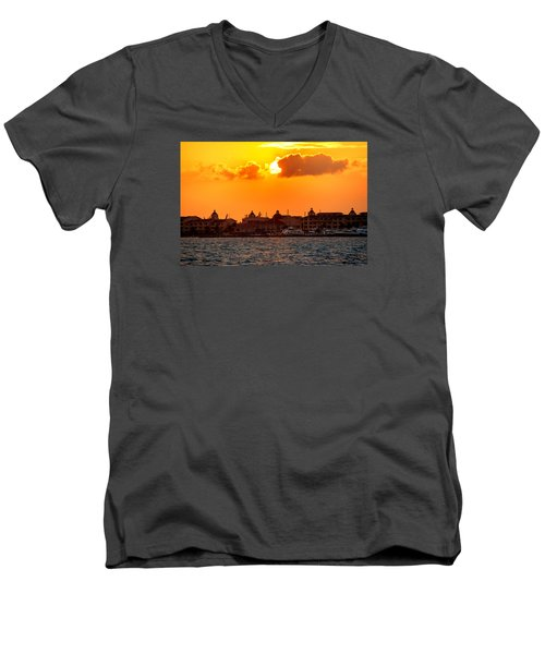 Golden Sky In Cancun Men's V-Neck T-Shirt