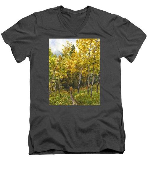 Golden Solitude Men's V-Neck T-Shirt by Anne Gifford