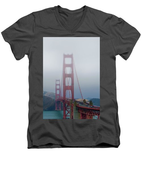 Men's V-Neck T-Shirt featuring the photograph Golden State Golden Gate  by Joseph Hollingsworth