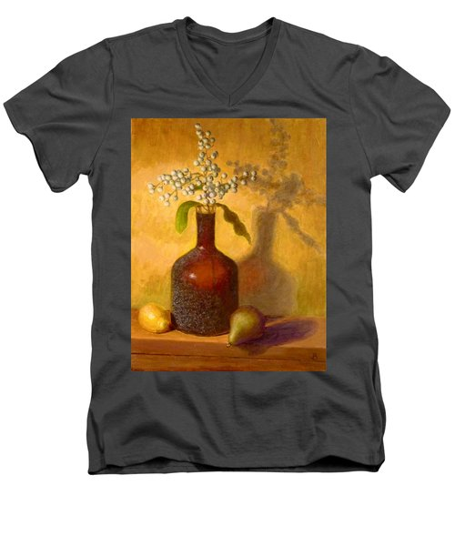 Men's V-Neck T-Shirt featuring the painting Golden Still Life by Joe Bergholm