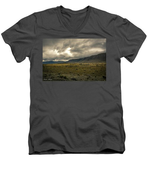 Men's V-Neck T-Shirt featuring the photograph Golden Storm by Andrew Matwijec