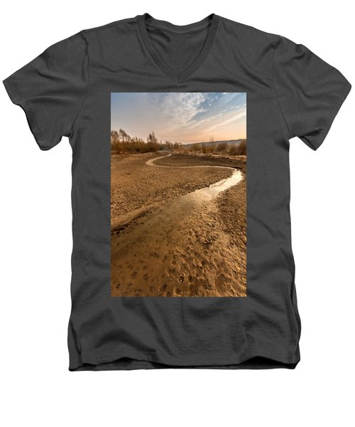 Men's V-Neck T-Shirt featuring the photograph Golden Stream by Davorin Mance