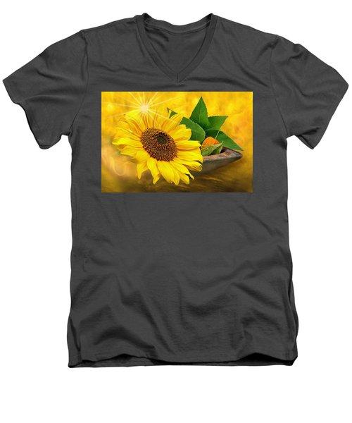 Golden Sunflower Men's V-Neck T-Shirt