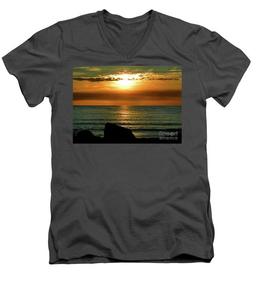 Men's V-Neck T-Shirt featuring the photograph Golden Sunset At The Beach IIi by Mariola Bitner