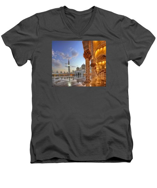 Golden Temple Men's V-Neck T-Shirt by John Swartz