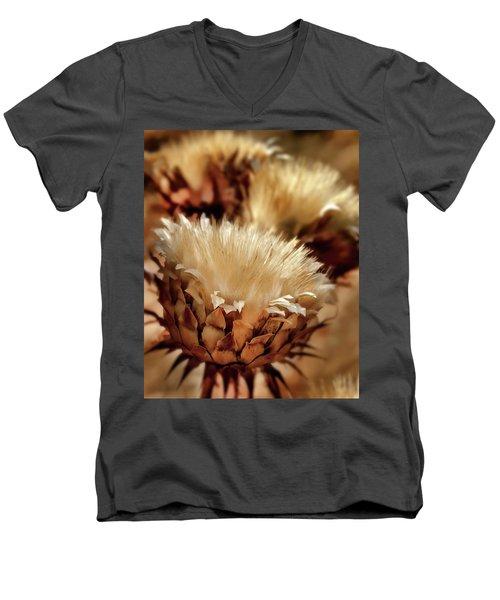 Men's V-Neck T-Shirt featuring the digital art Golden Thistle II by Bill Gallagher