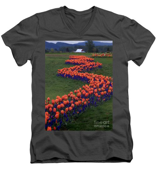 Men's V-Neck T-Shirt featuring the photograph Golden Thread by Peter Simmons