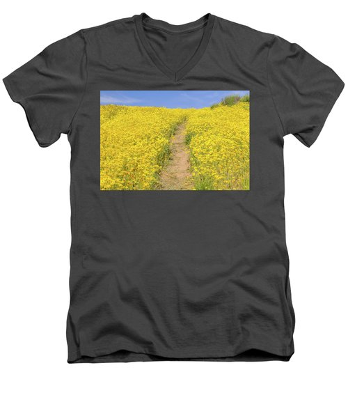Men's V-Neck T-Shirt featuring the photograph Golden Trail by Marc Crumpler
