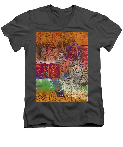 Men's V-Neck T-Shirt featuring the painting Golden Truth by Angela L Walker