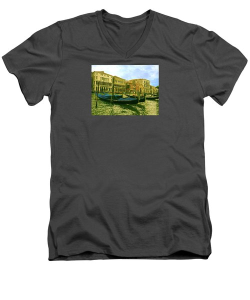 Men's V-Neck T-Shirt featuring the photograph Golden Venice by Anne Kotan
