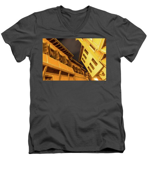 Golden Yellow Night - Chic Zigzags Of Oriel Windows And Serrated Roof Lines Men's V-Neck T-Shirt