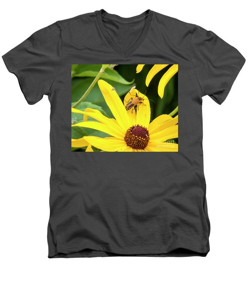 Men's V-Neck T-Shirt featuring the photograph Goldenrod Soldier Beetle by Ricky L Jones