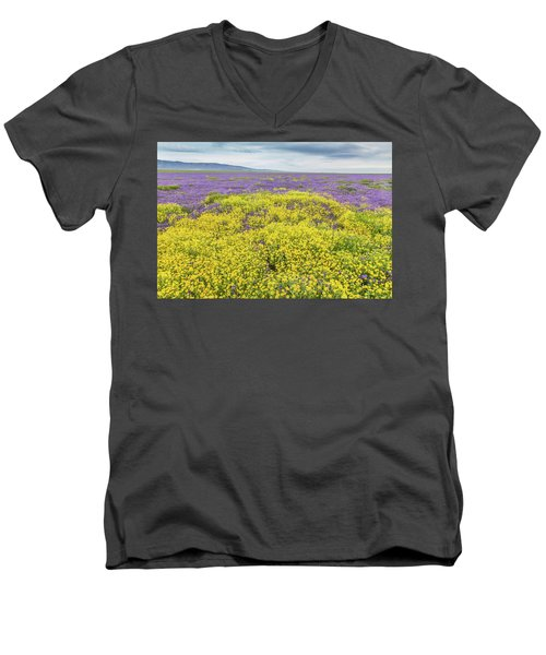 Men's V-Neck T-Shirt featuring the photograph Goldfield And Phacelia by Marc Crumpler