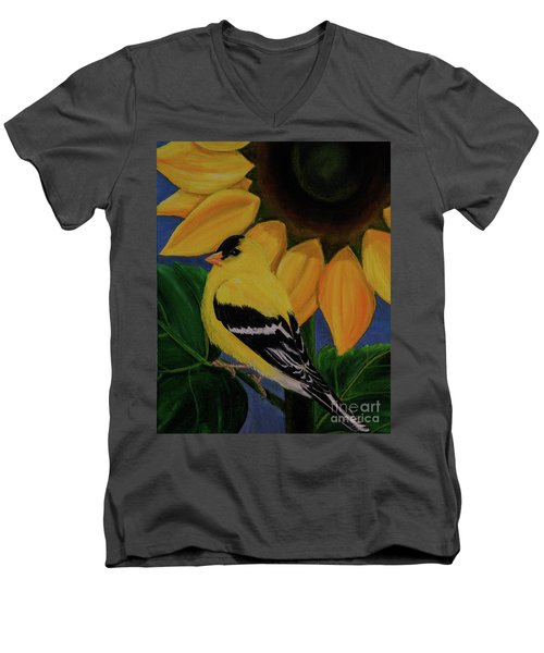 Goldfinch And Sunflower Men's V-Neck T-Shirt by Jane Axman