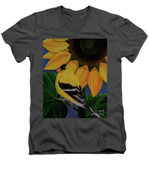 Goldfinch And Sunflower Men's V-Neck T-Shirt
