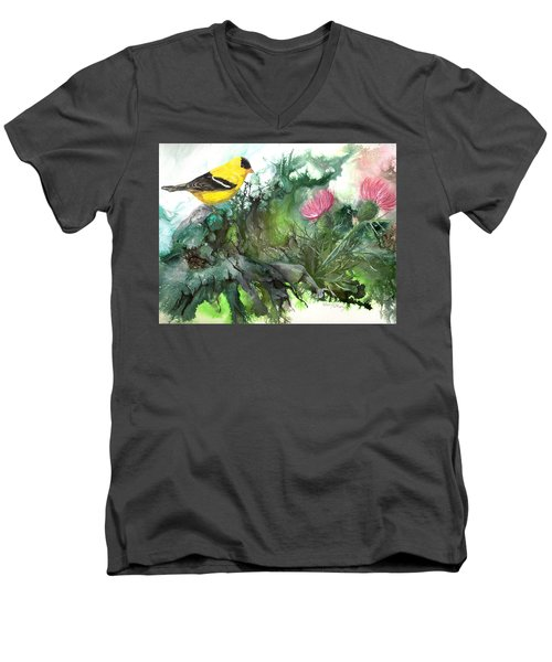 Men's V-Neck T-Shirt featuring the painting Goldfinch by Sherry Shipley