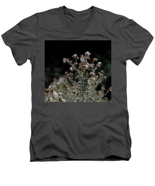 Goldfinch Sitting On A Thistle Men's V-Neck T-Shirt