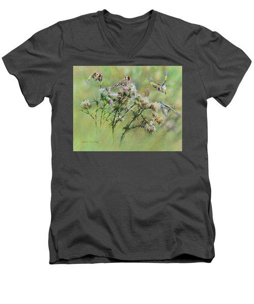 Goldfinches On Thistle Men's V-Neck T-Shirt