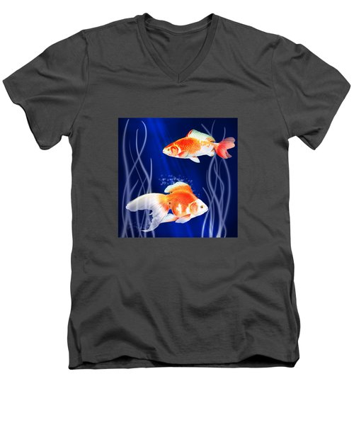 Goldfish Aglow Men's V-Neck T-Shirt by Little Bunny Sunshine