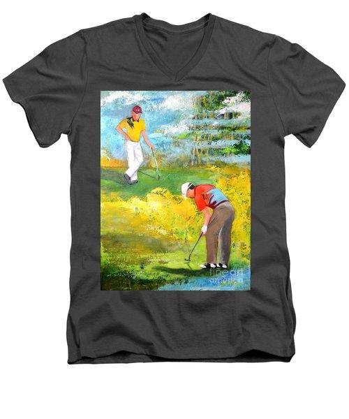 Golf Buddies #2 Men's V-Neck T-Shirt by Betty M M Wong